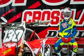 Tommy getting ready in the pits at Houston (Transworldmx photo)